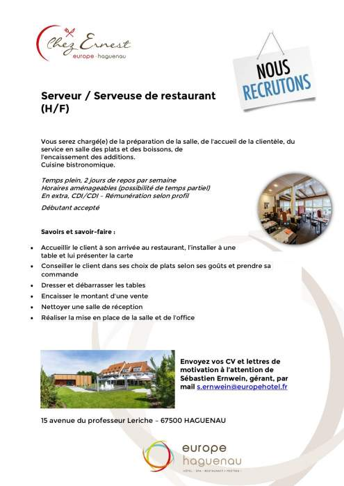 Offre d'emploi serveur<br />